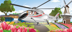 Helicopter flight above the flower fields
