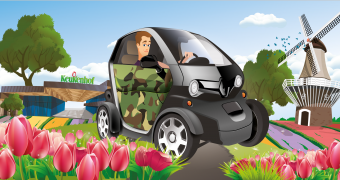 Car tour with an electric Twizy along the tulip fields