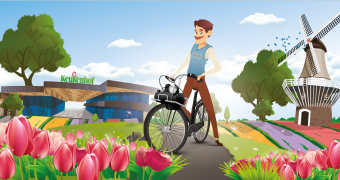 Drive a classic Solex scooter along the flower fields
