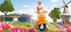 On a Vespa along the tulips